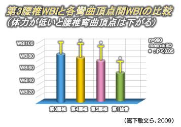 第3腰椎WBIと各弯曲頂点間WBIの比較